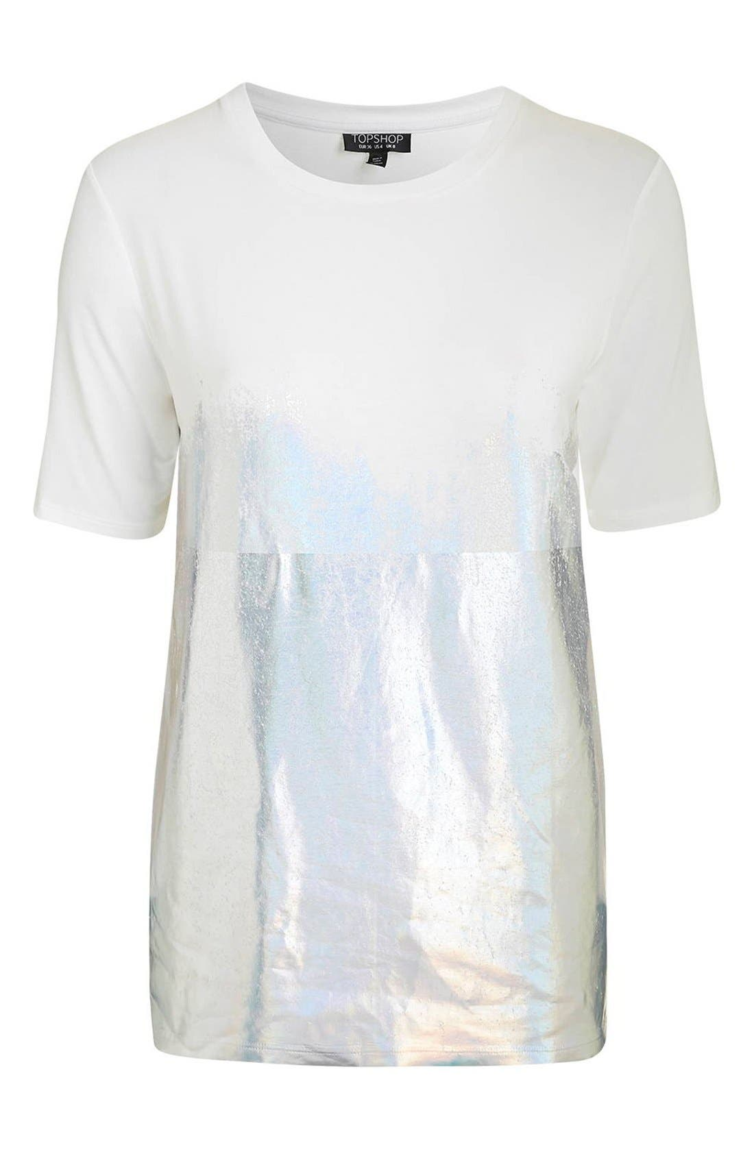 Alternate Image 4  - Topshop Holographic Dipped Oversize Tee