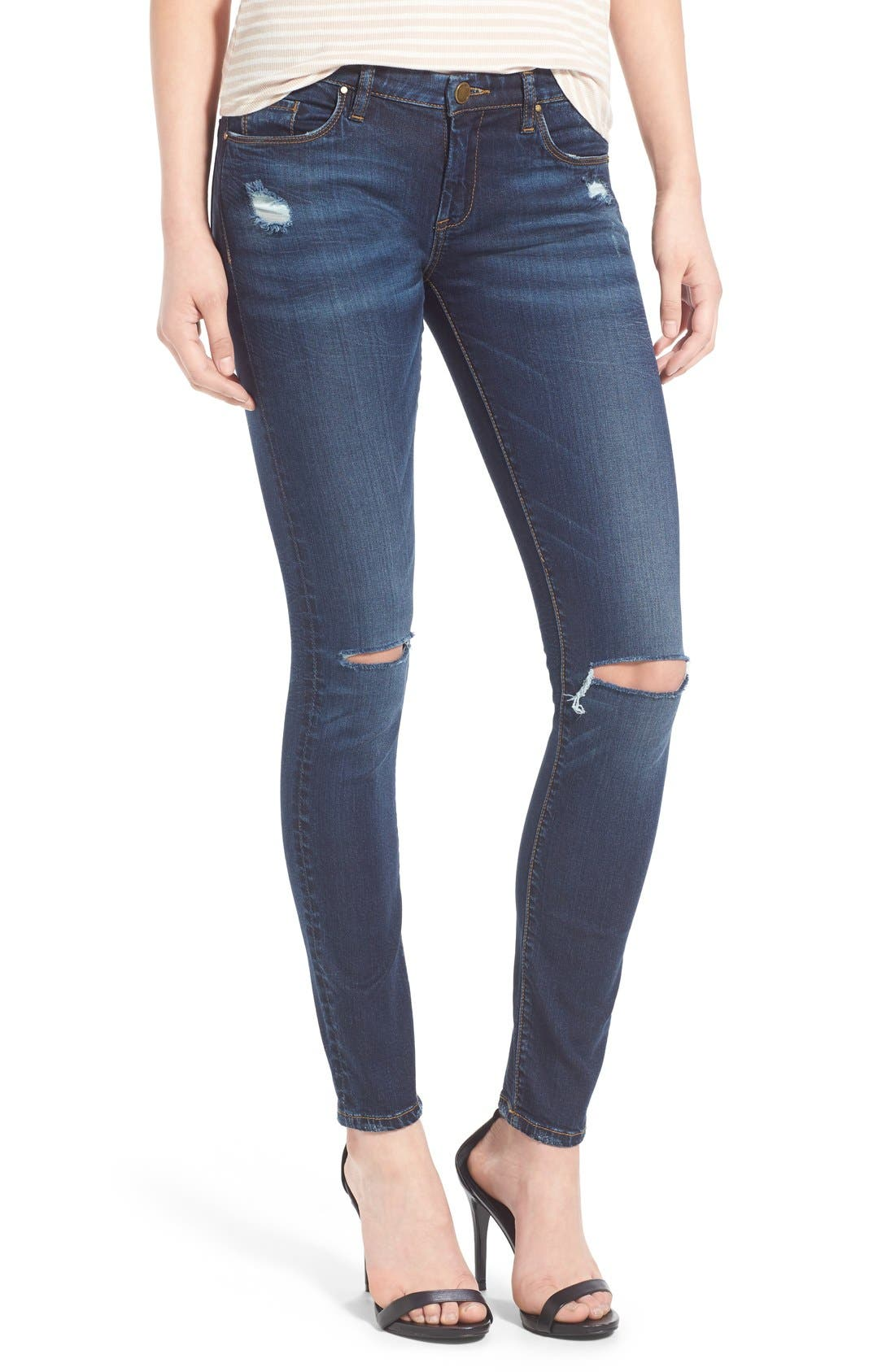Alternate Image 1 Selected - BLANKNYC 'Pros and Ex Cons' Distressed Skinny Jeans