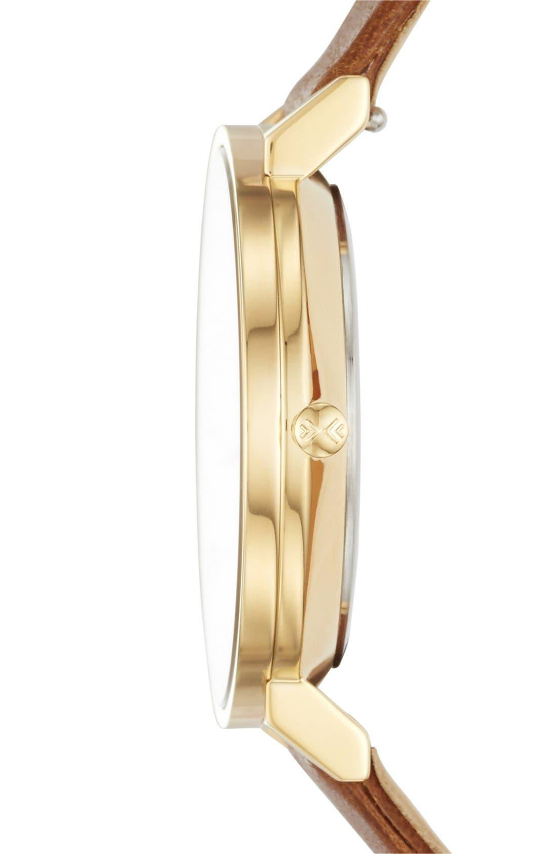 Alternate Image 3  - Skagen 'Hald' Round Leather Strap Watch, 34mm