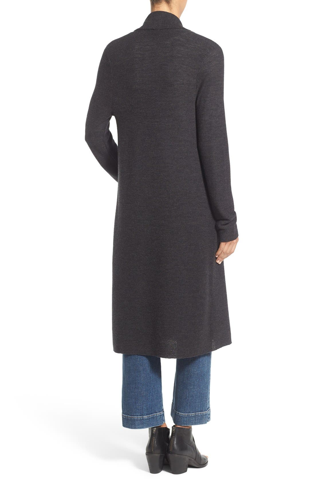 Alternate Image 2  - Eileen Fisher Ribbed Merino Wool Open Front Long Cardigan