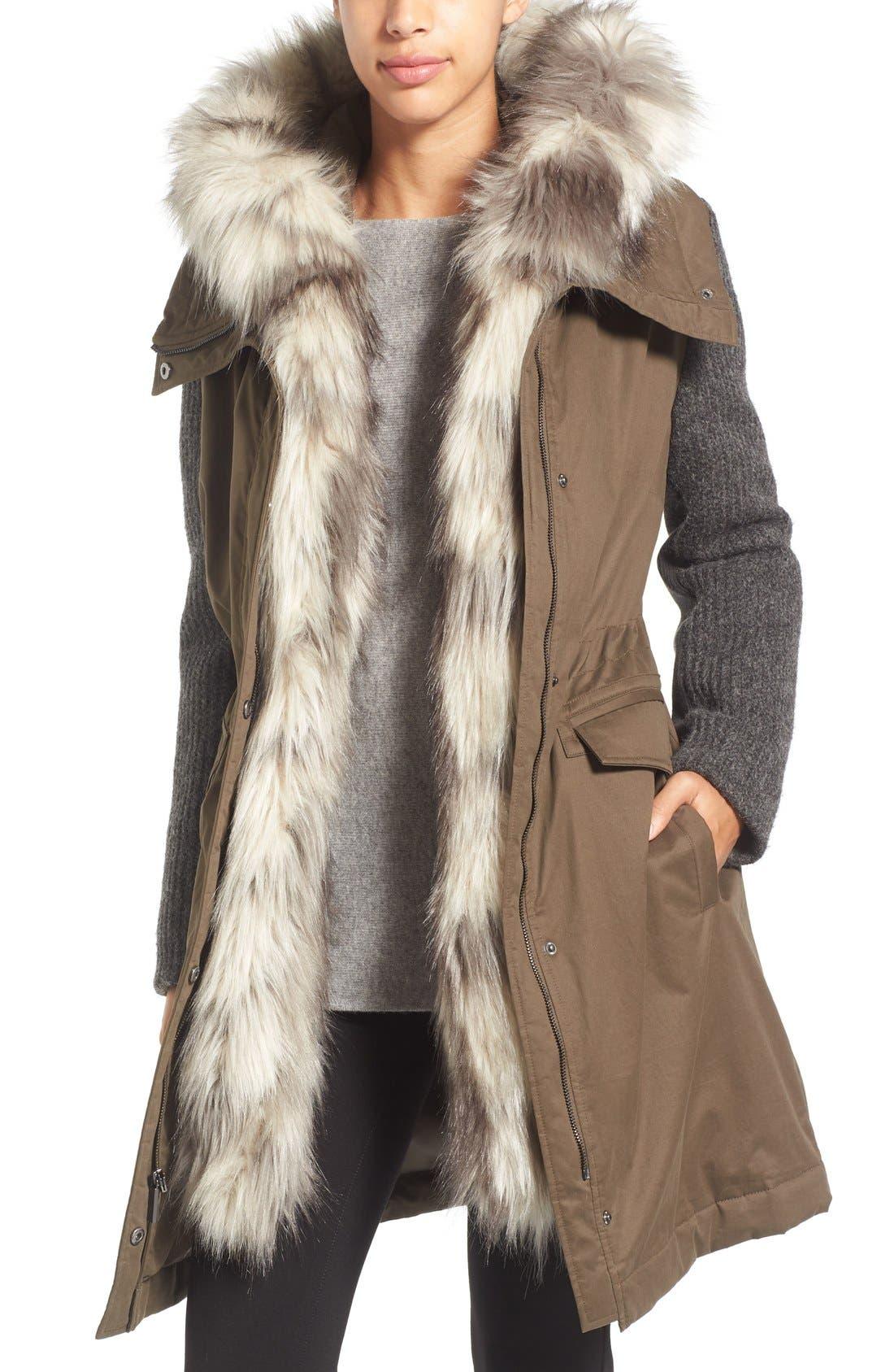 Alternate Image 1 Selected - Vera Wang Faux Fur Trim Mixed Media Parka