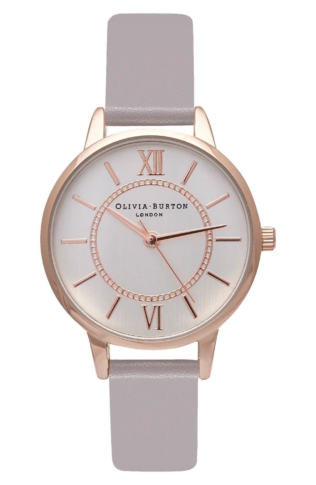 Alternate Image 1 Selected - Olivia Burton 'Wonderland' Leather Strap Watch, 30mm