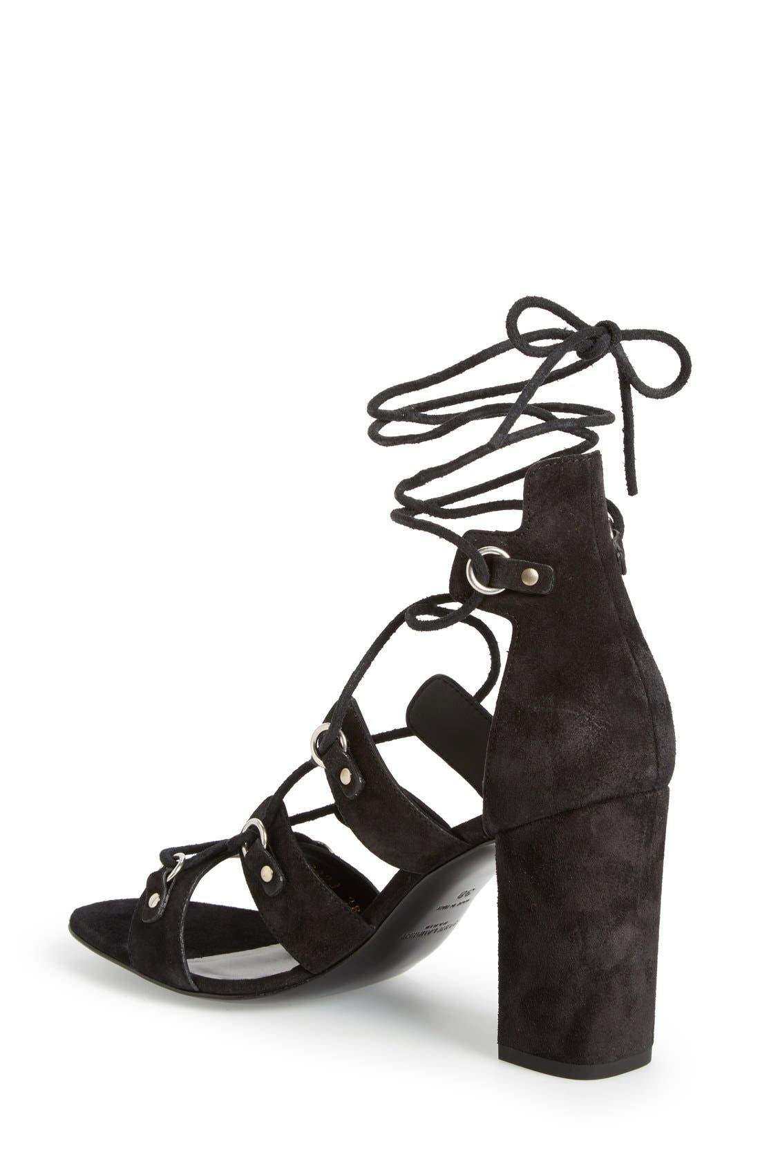 Alternate Image 2  - Saint Laurent 'Babies Eyelet' Block Heel Ghillie Sandal (Women)
