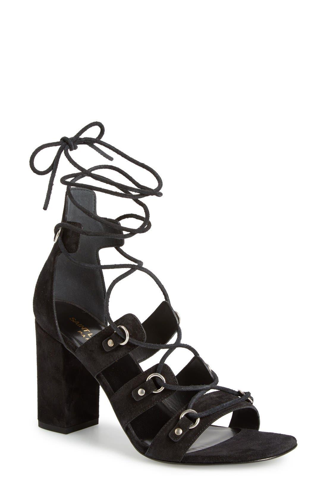 Main Image - Saint Laurent 'Babies Eyelet' Block Heel Ghillie Sandal (Women)