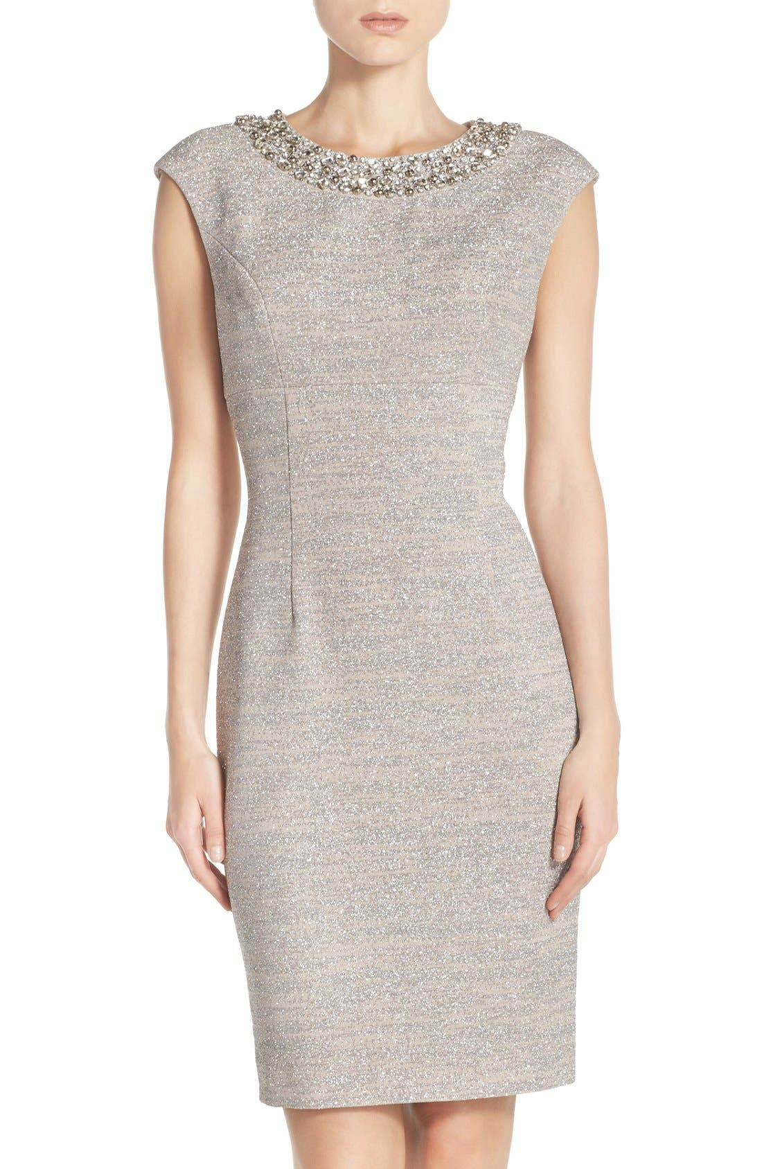 Alternate Image 1 Selected - Eliza J Embellished Sparkle Knit Sheath Dress (Regular & Petite)