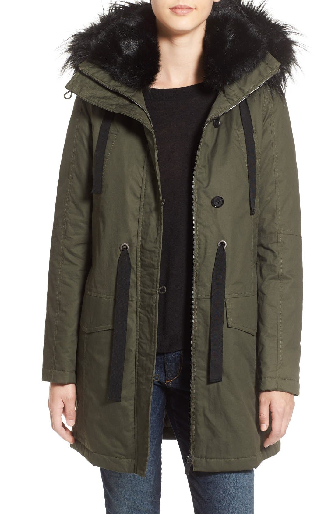 Main Image - French Connection Hooded Parka With Faux Fur Trim