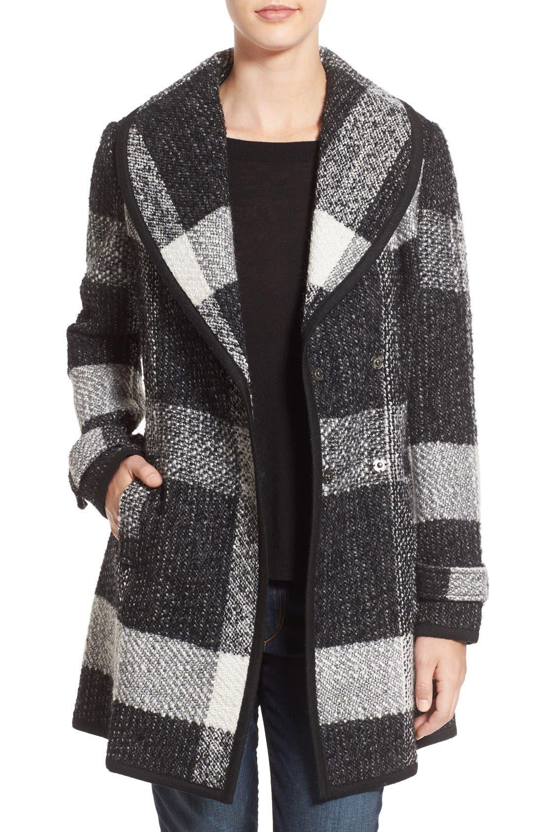 Main Image - GUESS Shawl Collar Plaid Coat