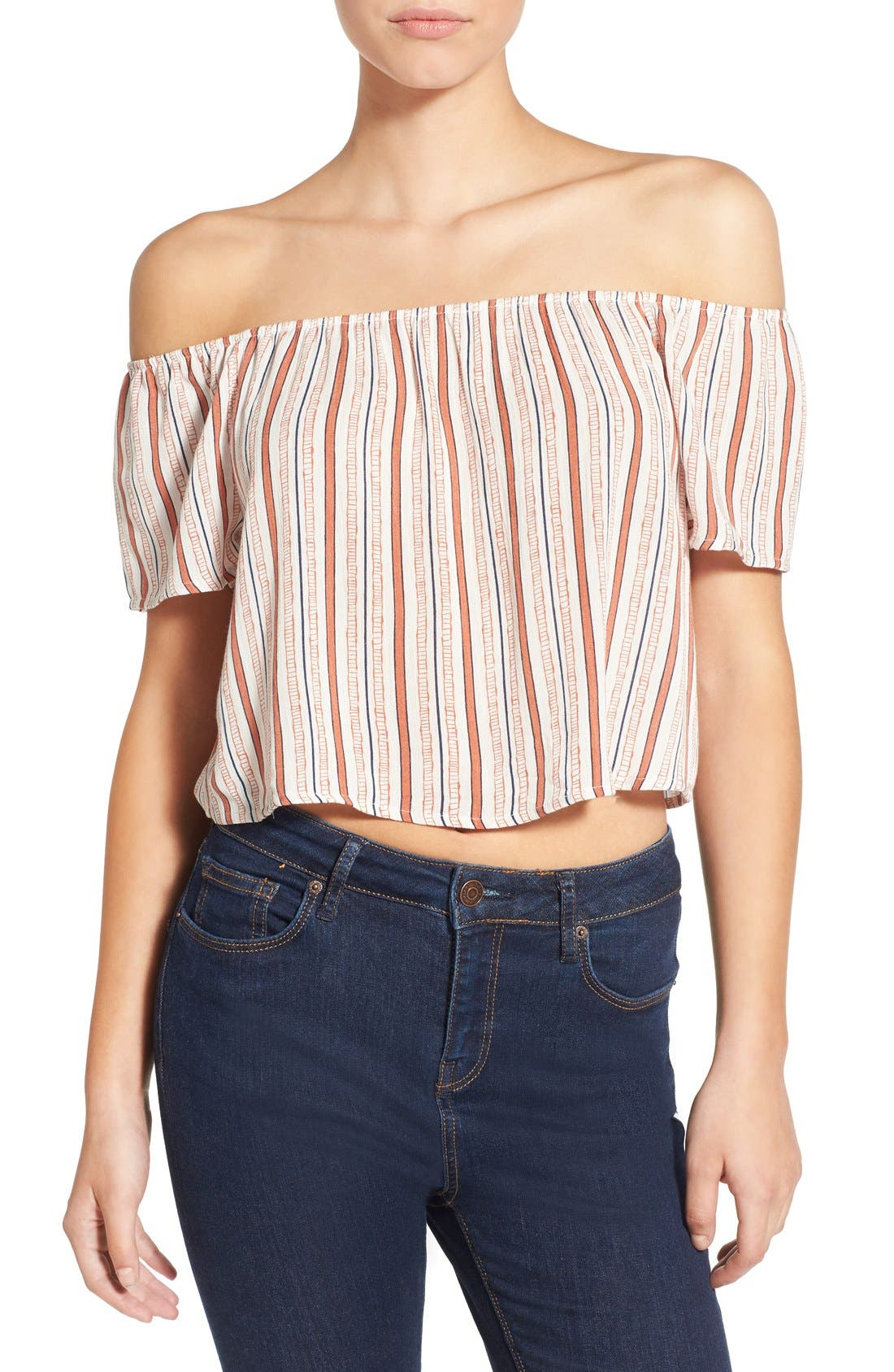 Alternate Image 1 Selected - Ten Sixty Sherman Stripe Off the Shoulder Crop Top