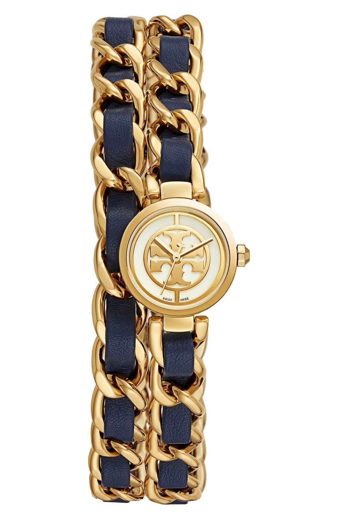 Alternate Image 1 Selected - Tory Burch 'Mini Reva' Double Wrap Chain Watch, 20mm