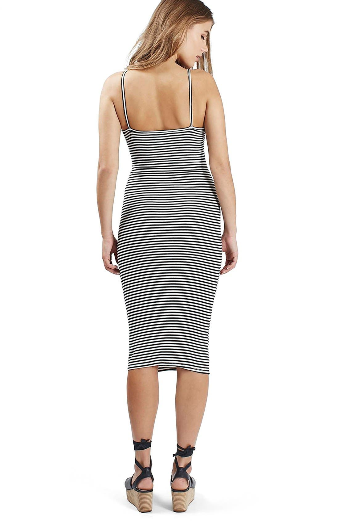 Alternate Image 4  - Topshop Stripe Lace-Up Midi Dress (Regular & Petite)
