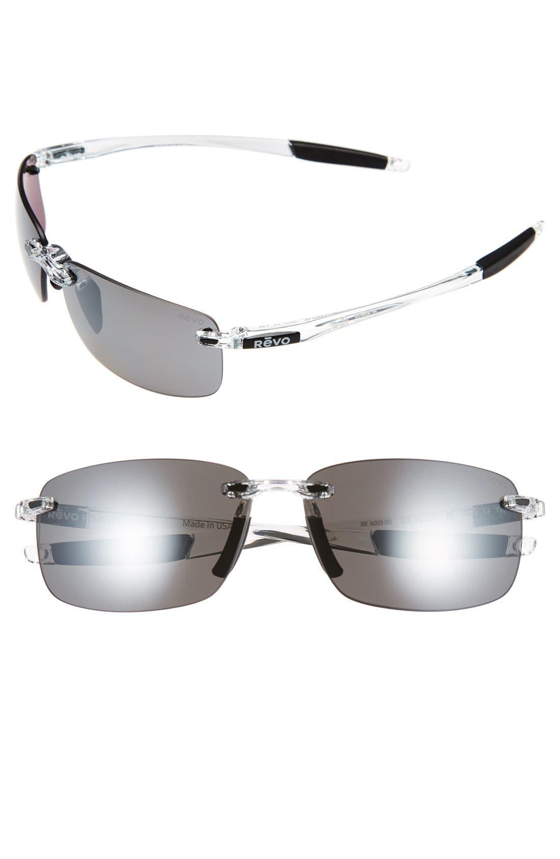 REVO 'Descend N' 64mm Polarized Rimless Sunglasses