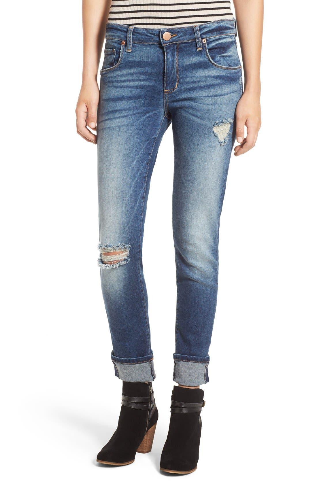 Alternate Image 1 Selected - STS Blue 'Taylor Tomboy' Distressed Boyfriend Jeans (West San Clement)