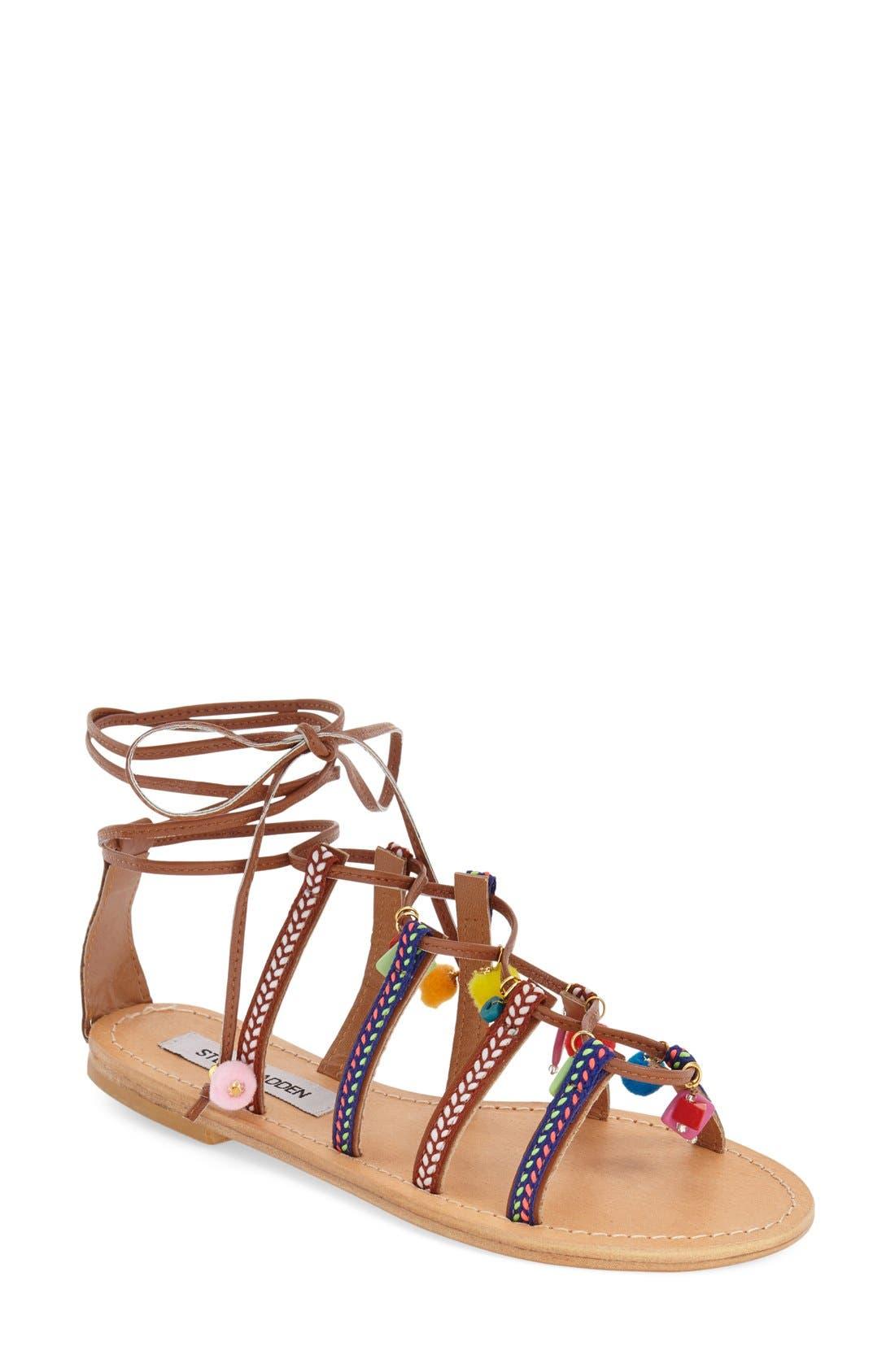 Alternate Image 1 Selected - Steve Madden 'Ommaha' Embellished Lace-up Sandal (Women)