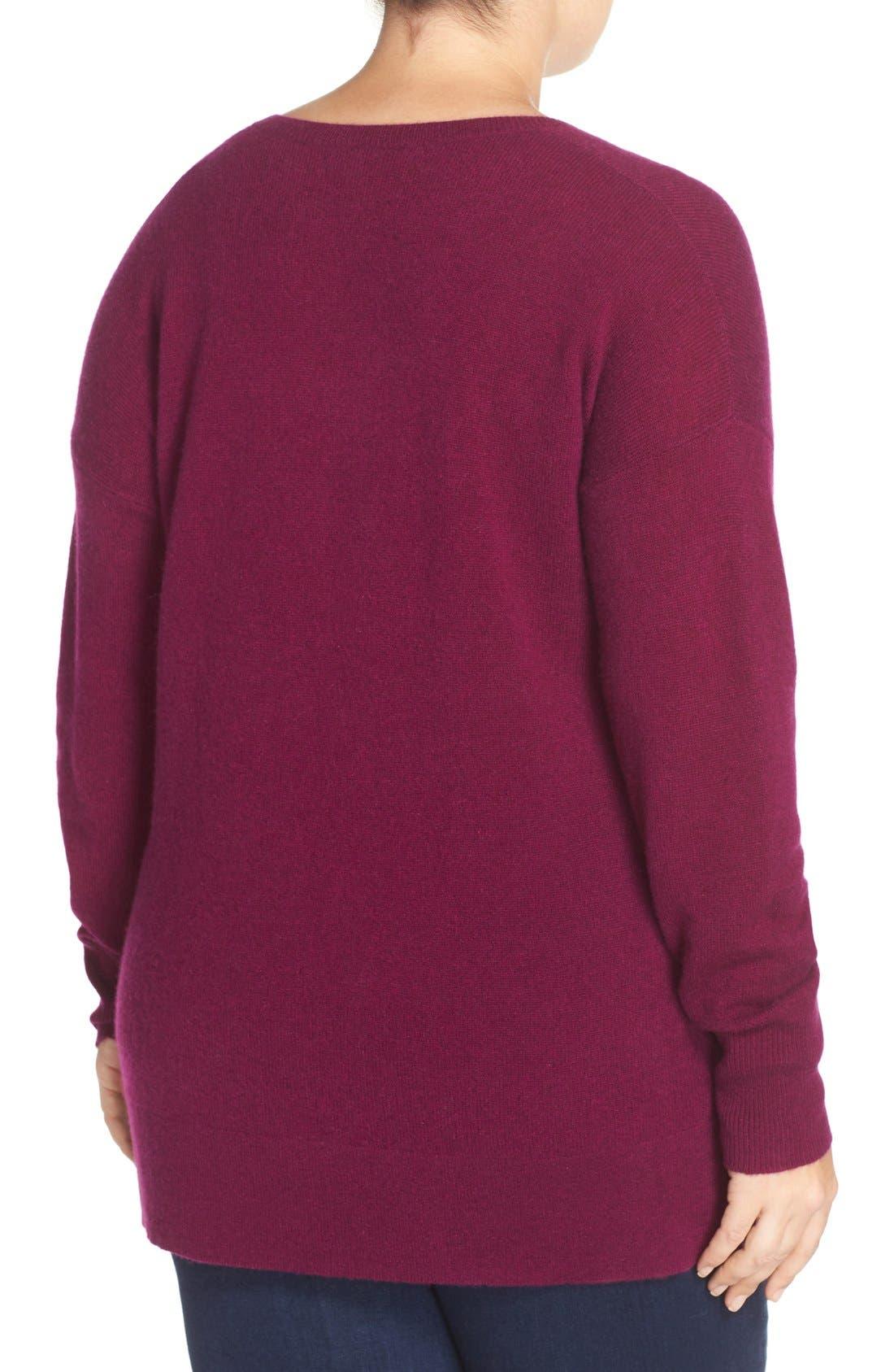 Alternate Image 3  - Halogen® V-Neck Cashmere Sweater (Plus Size)