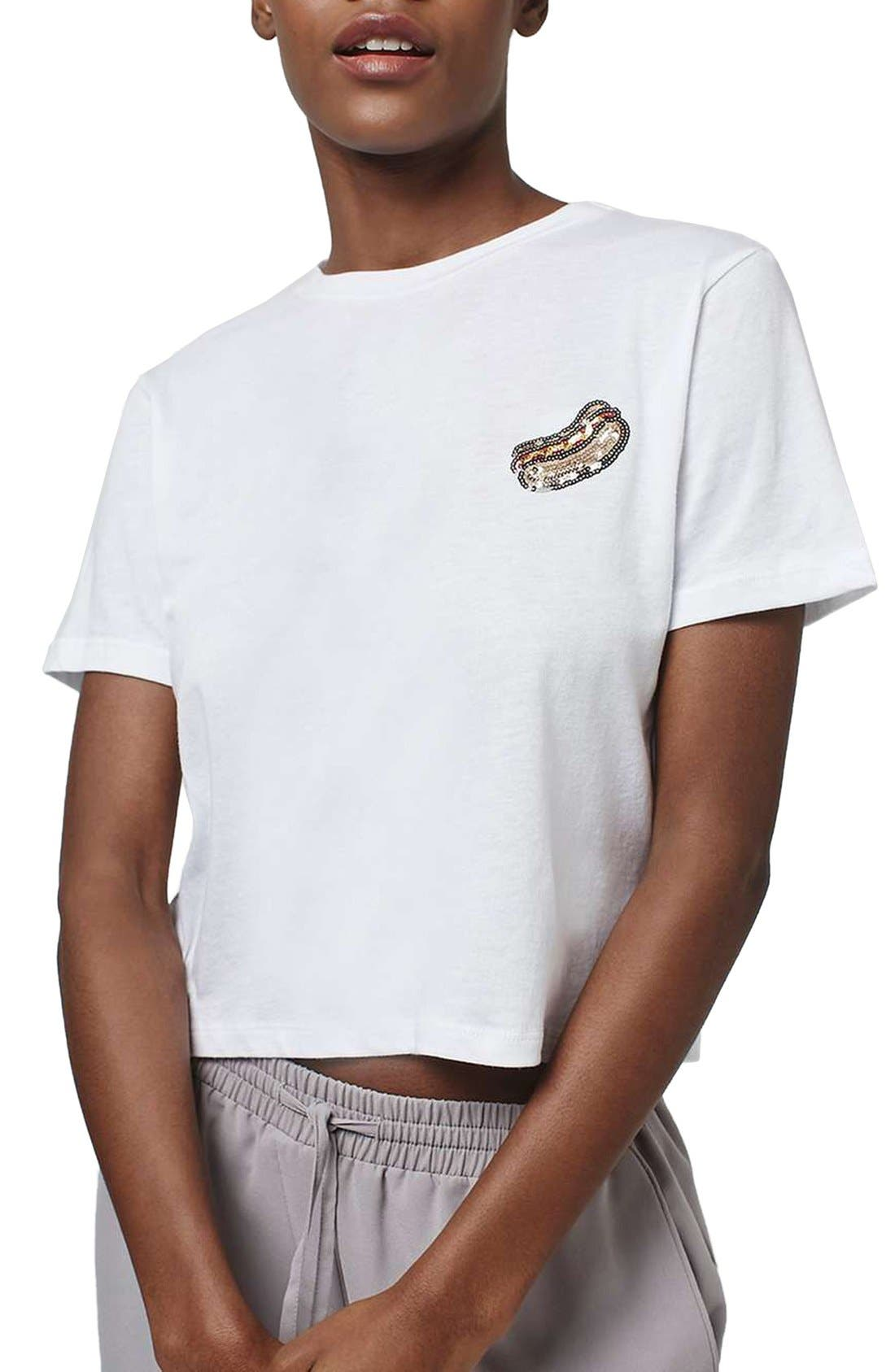 Main Image - Topshop by Tee & Cake Sequin Hot Dog Tee