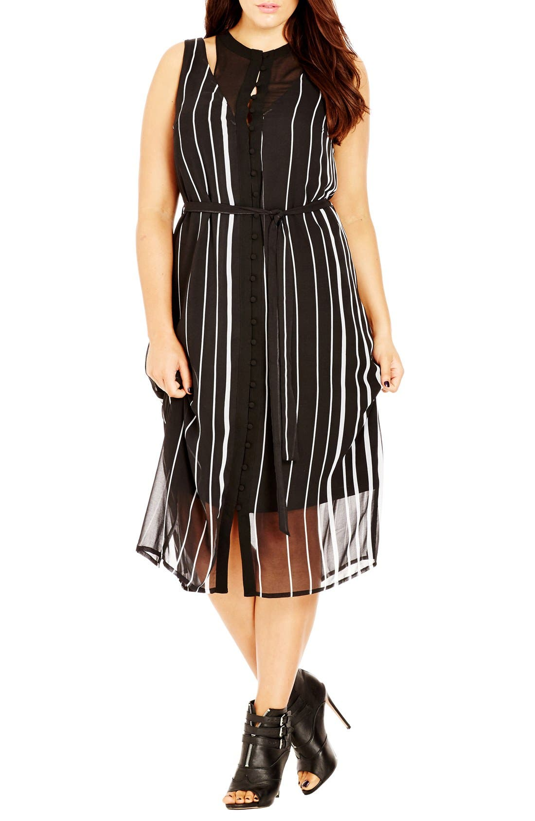 Alternate Image 1 Selected - City Chic 'Office Romance' Sheer Overlay Dress (Plus Size)