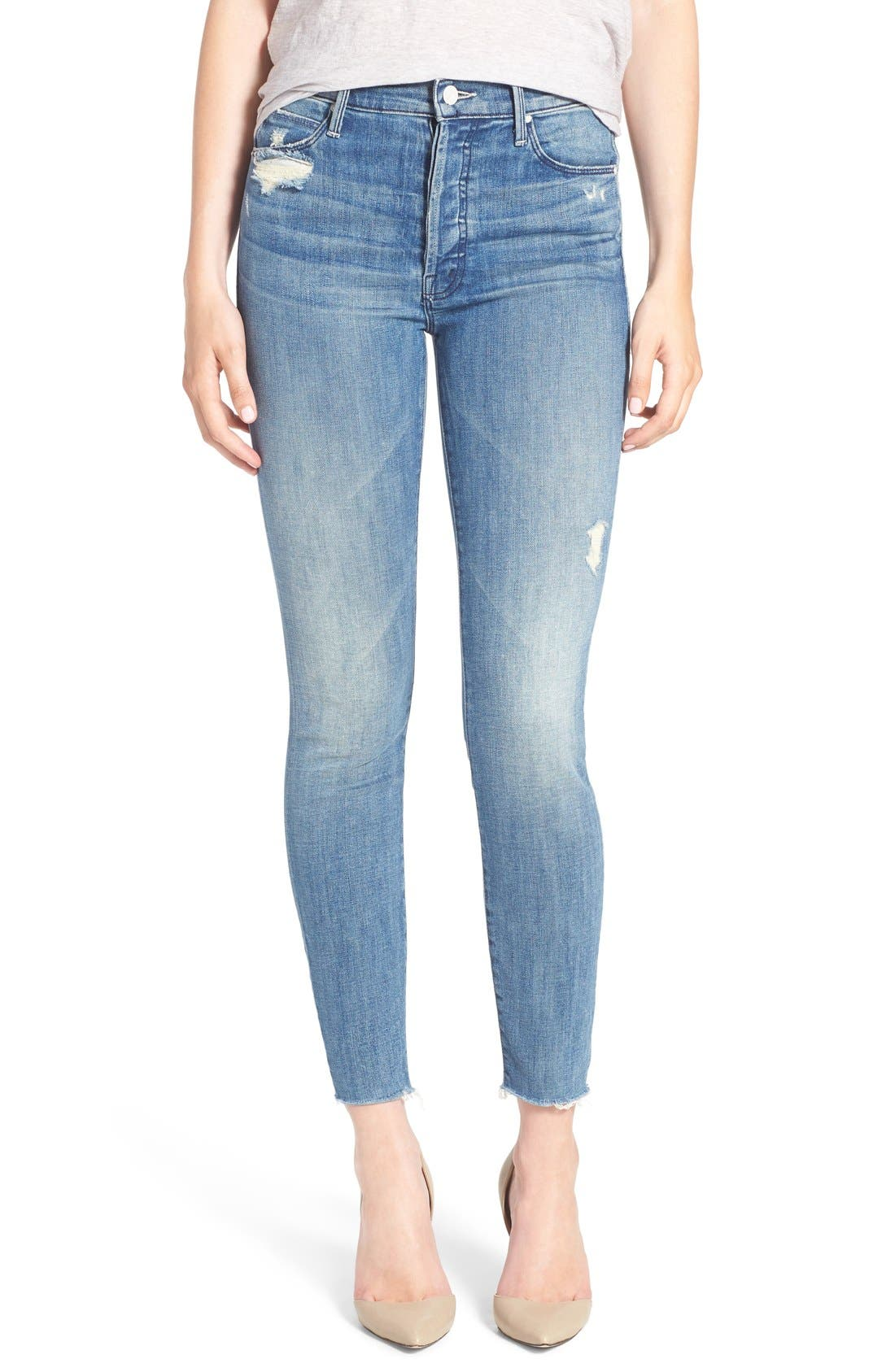 MOTHER The Stunner Frayed Ankle Skinny Jeans (Graffiti Girl)