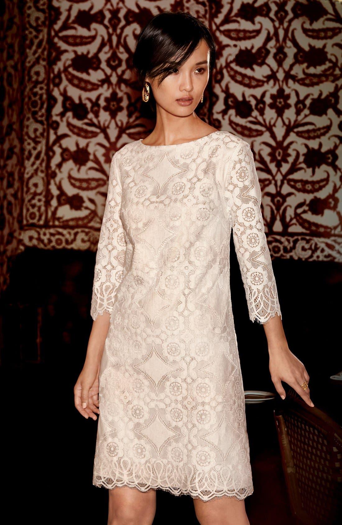 Alternate Image 6  - Eliza J Lace Shift Dress (Regular & Petite)