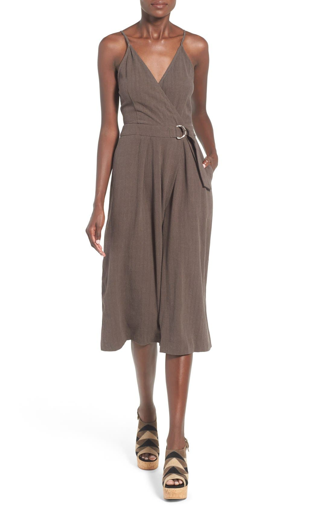 Alternate Image 1 Selected - ASTR 'Peonia' Cotton & Linen Surplice Jumpsuit