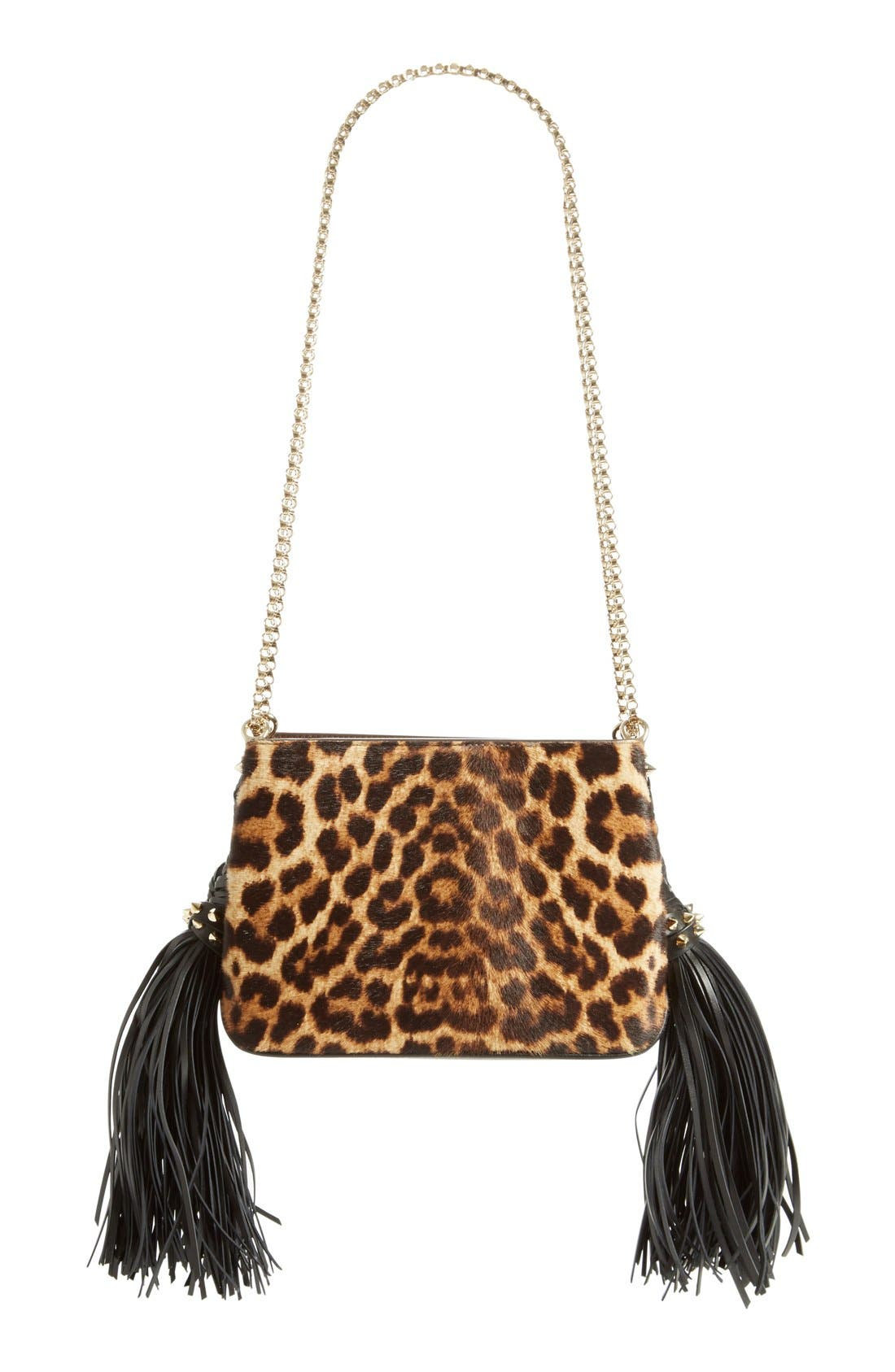 Alternate Image 1 Selected - Christian Louboutin 'Small Triloubi' Leopard Print Calf Hair Handbag
