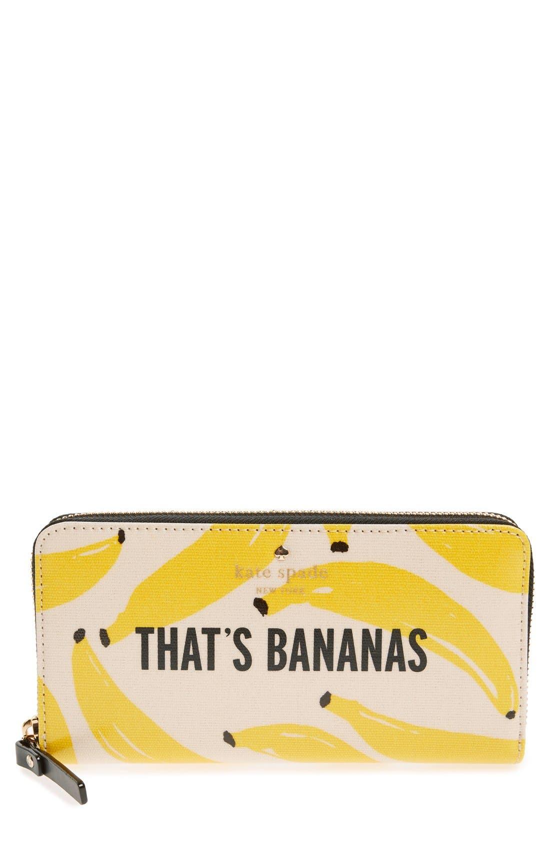 Main Image - kate spade new york 'that's bananas - lacey' zip around wallet