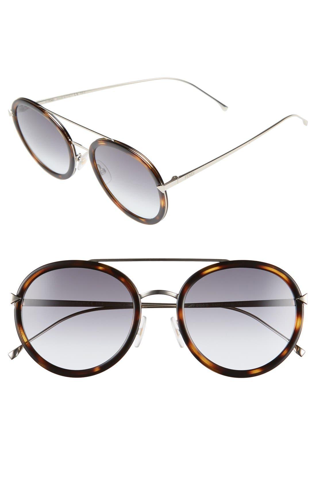 Fendi 51mm Round Aviator Sunglasses