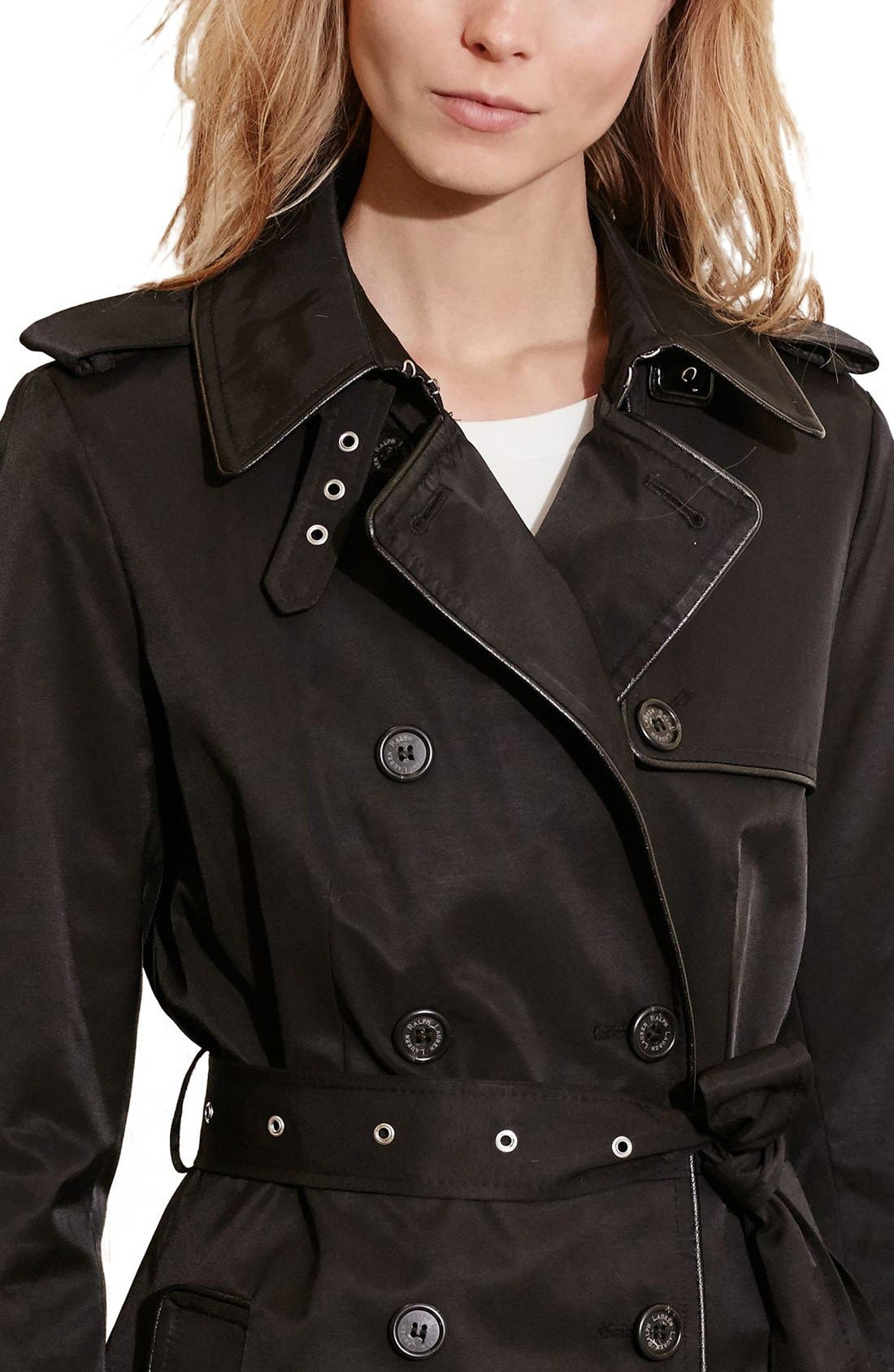 Alternate Image 3  - Lauren Ralph Lauren Faux Leather Trim Trench Coat (Regular & Petite)