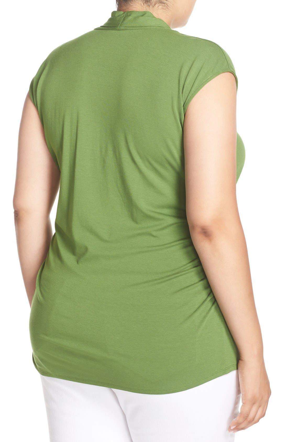 Alternate Image 2  - Vince Camuto Pleat V-Neck Knit Top (Plus Size)
