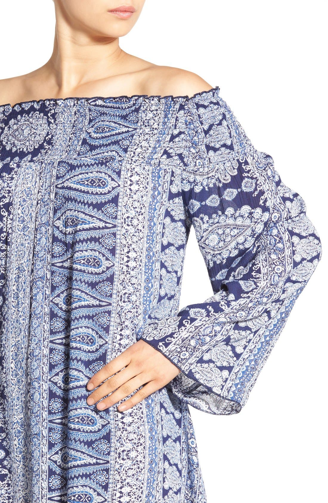 Alternate Image 4  - Band of Gypsies Paisley Off the Shoulder Shift Dress