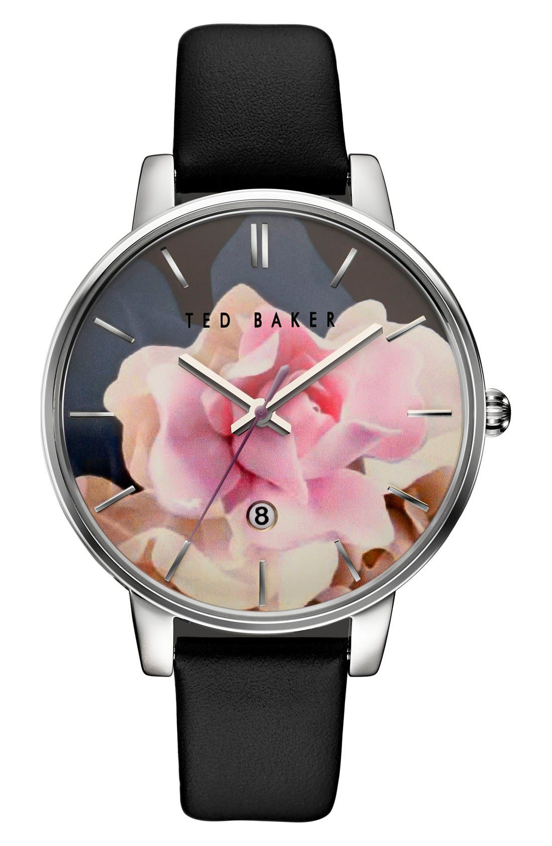 Main Image - Ted Baker Round Dial Leather Strap Watch, 40mm