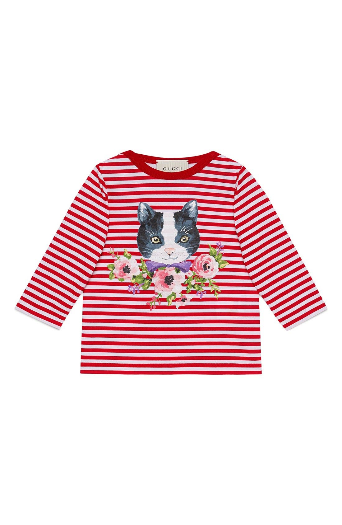 GUCCI Cat Graphic Stripe Long Sleeve Tee