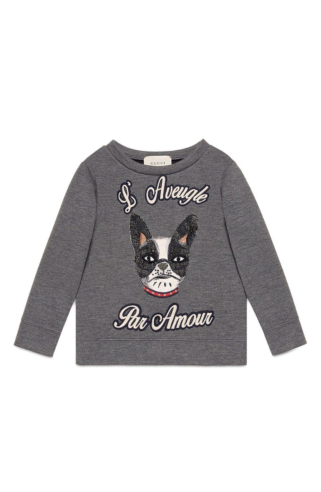 GUCCI 'L'Aveugle Par Amour' Puppy Appliqué Sweatshirt