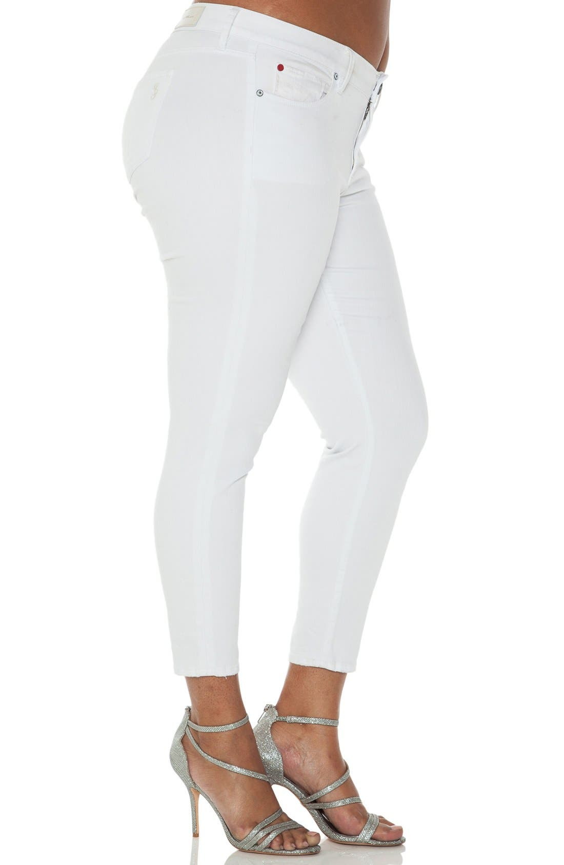 Alternate Image 3  - SLINK Jeans Stretch Ankle Skinny Jeans (Optical White) (Plus Size)