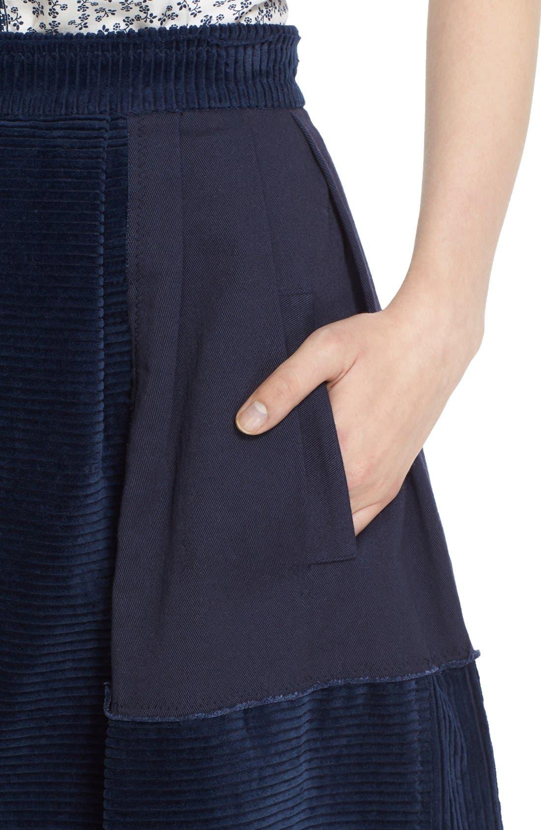 Alternate Image 6  - steventai Corduroy & Denim Patchwork Midi Skirt
