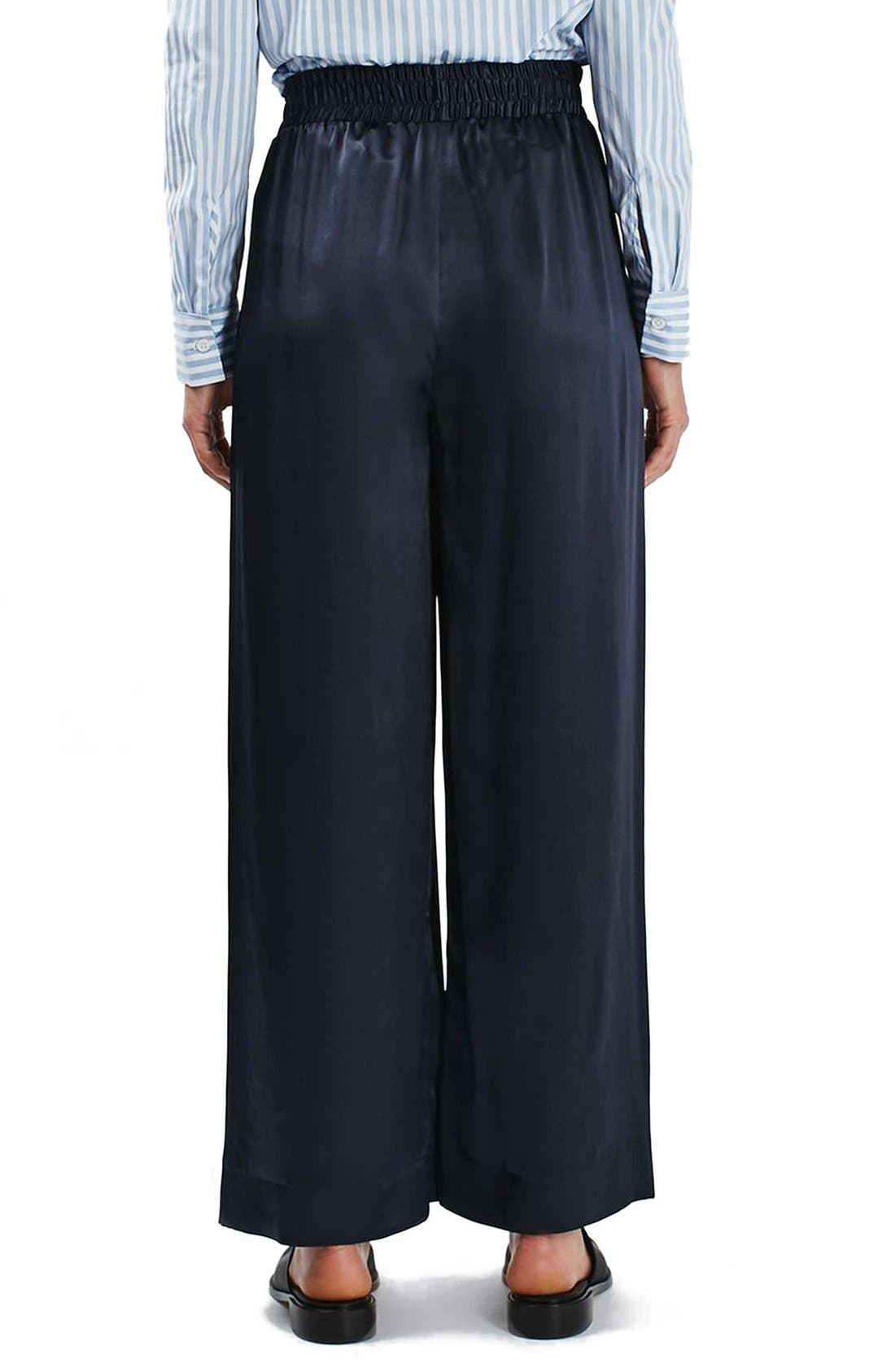 Alternate Image 2  - Topshop Boutique Stripe Wide Leg Silk Pants