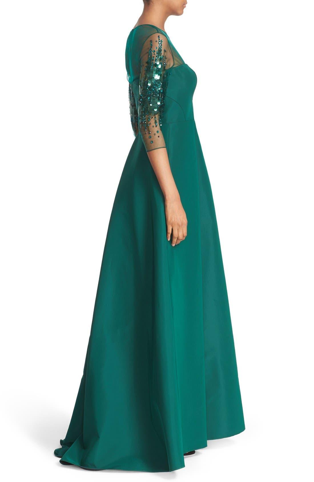 Alternate Image 3  - Pamella Roland Crystal Sequin Silk Faille Gown