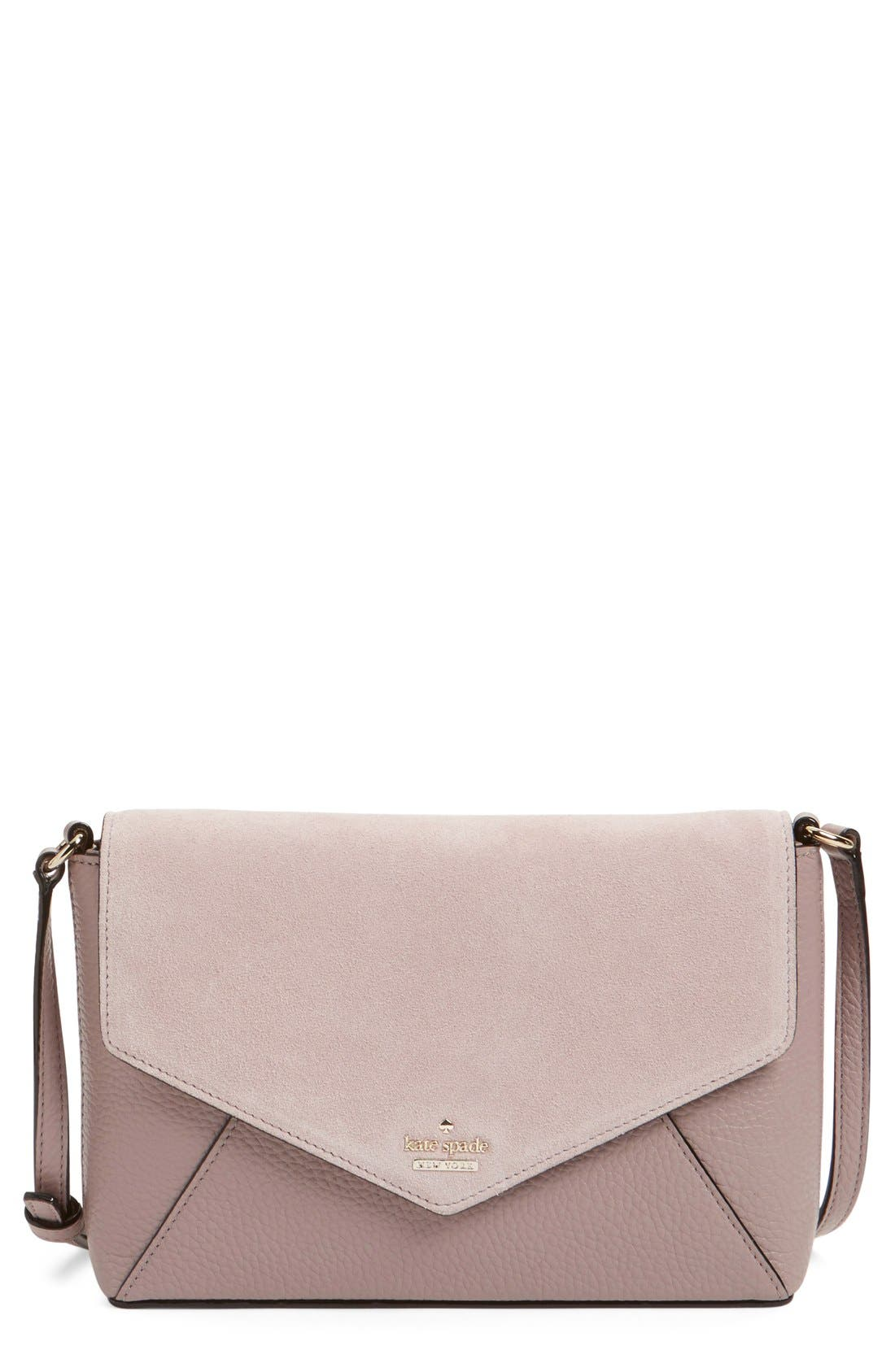 Alternate Image 1 Selected - kate spade new york 'spencer court - large monday' suede & leather envelope crossbody bag (Nordstrom Exclusive)