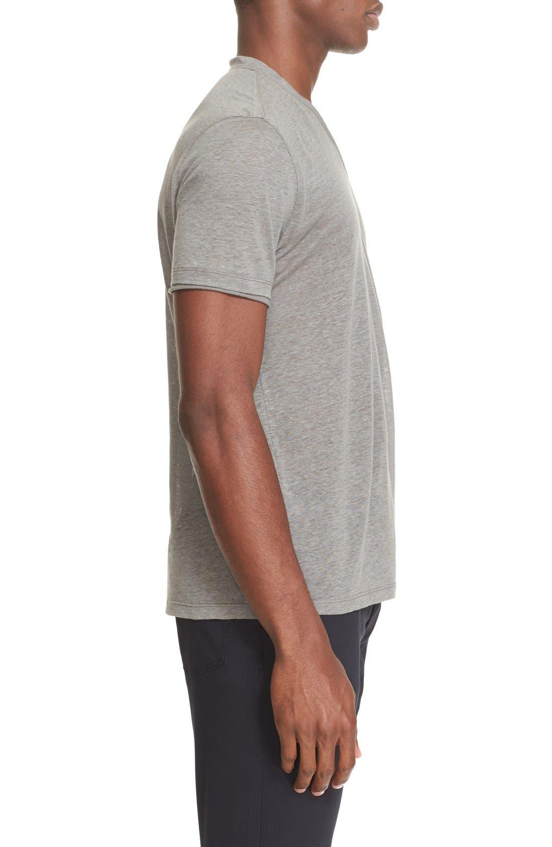 Alternate Image 3  - John Varvatos Collection V-Neck Linen T-Shirt