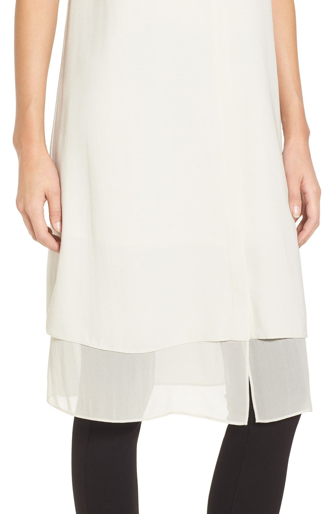 Alternate Image 4  - Eileen Fisher Chiffon Hem Sleeveless Mandarin Collar Silk Georgette Shirtdress