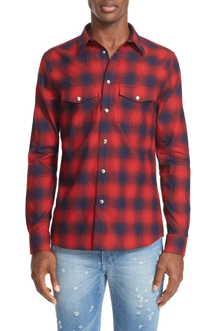 Givenchy extra trim fit plaid flannel western shirt for Trim fit flannel shirts