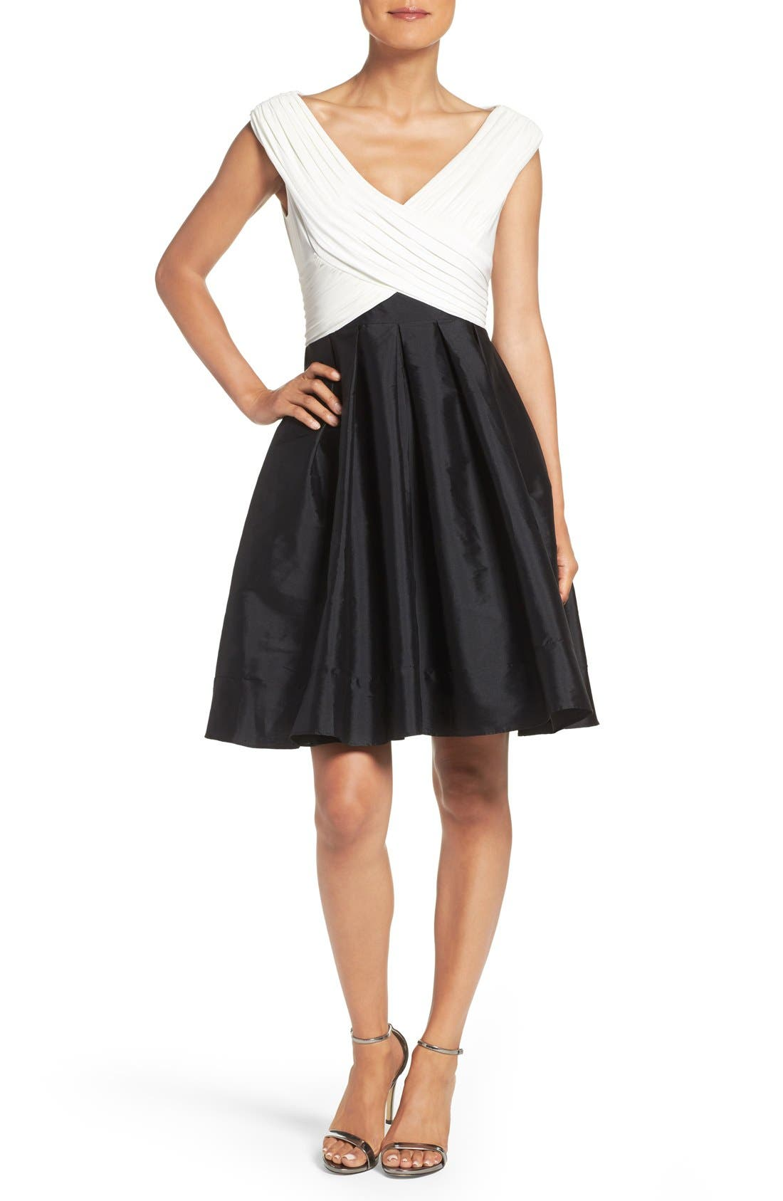 Alternate Image 1 Selected - Adrianna Papell Taffeta Fit & Flare Dress (Regular & Petite)