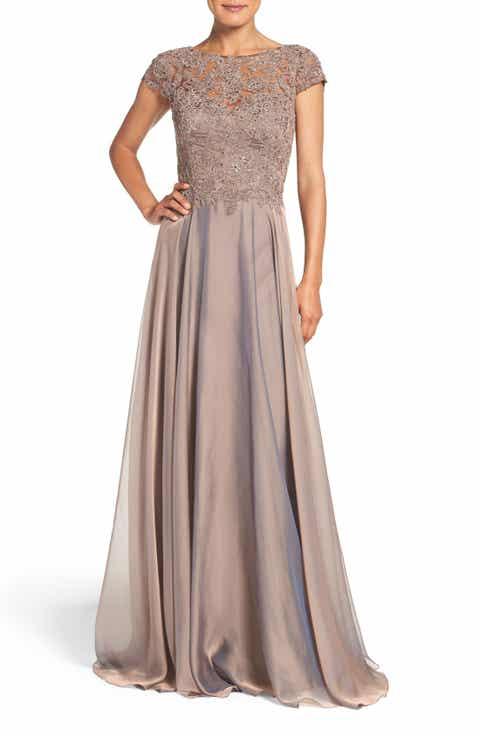 La Femme Embellished Lace   Satin Ballgown