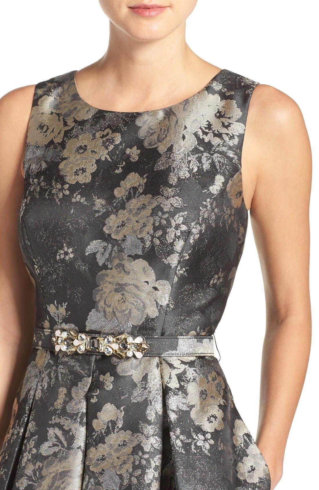 Alternate Image 4  - Eliza J Belted Jacquard Fit & Flare Dress (Regular & Petite)