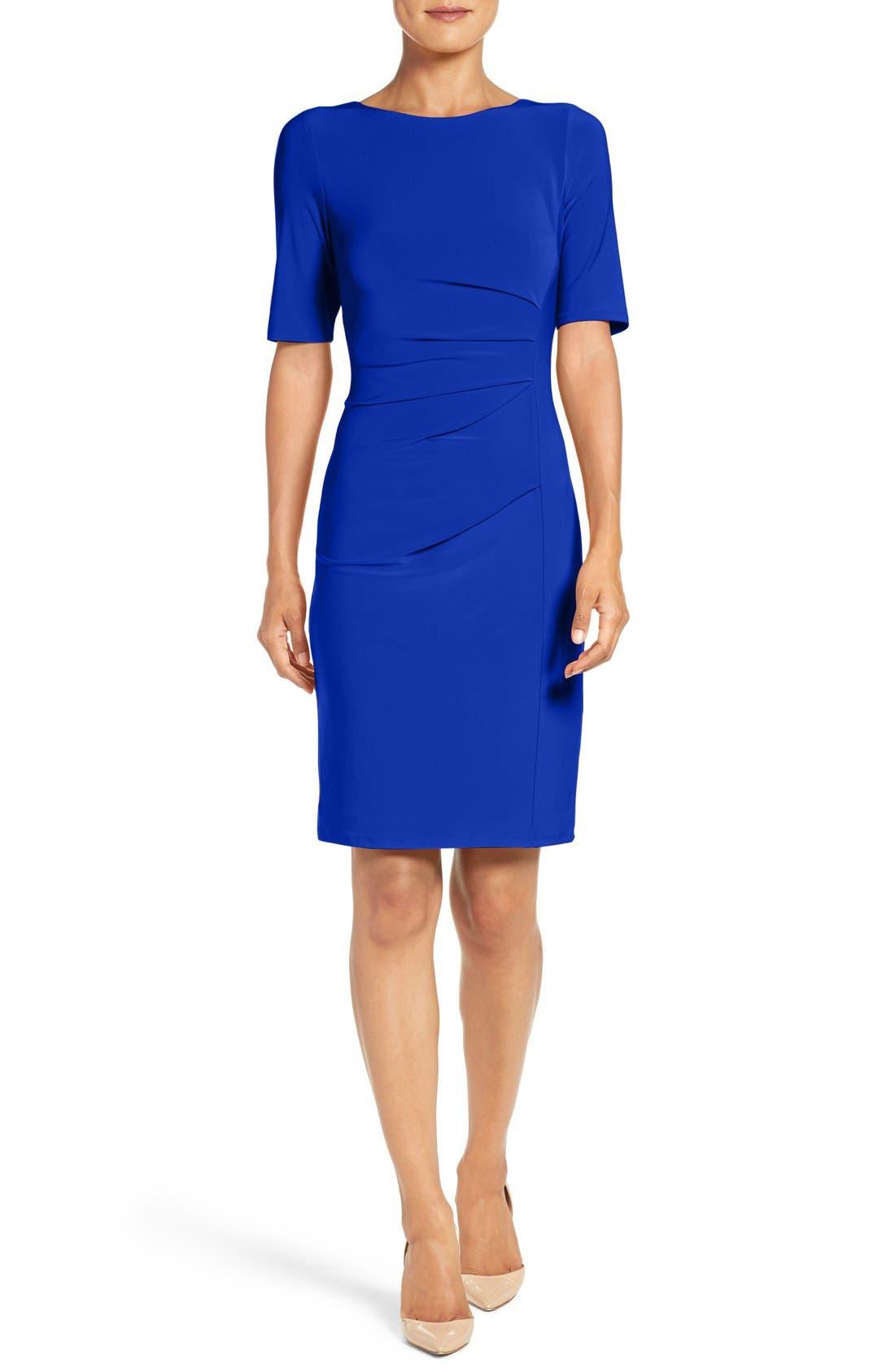 Alternate Image 1 Selected - Eliza J Ruched Jersey Sheath Dress (Regular & Petite)