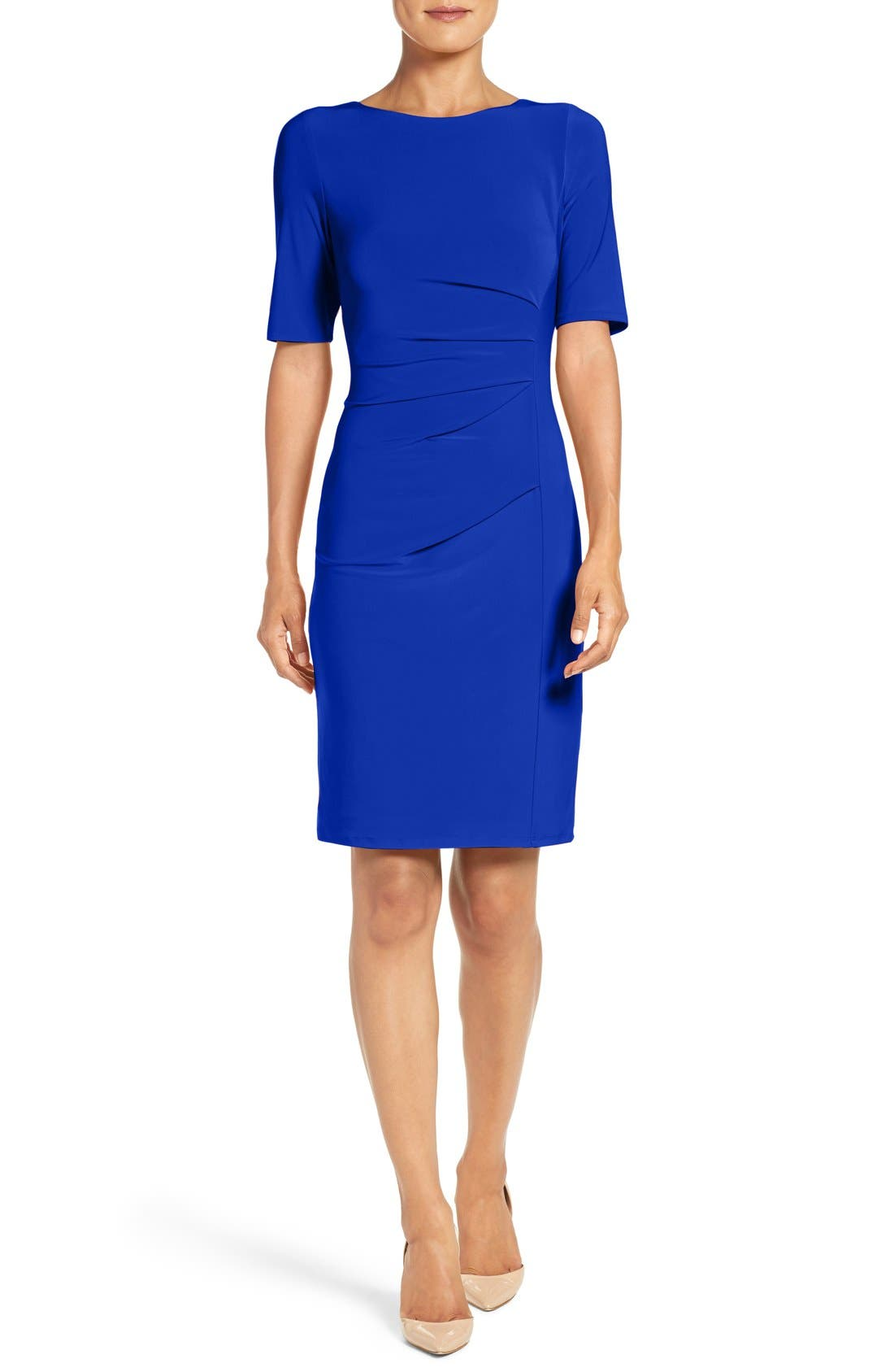 Main Image - Eliza J Ruched Jersey Sheath Dress (Regular & Petite)