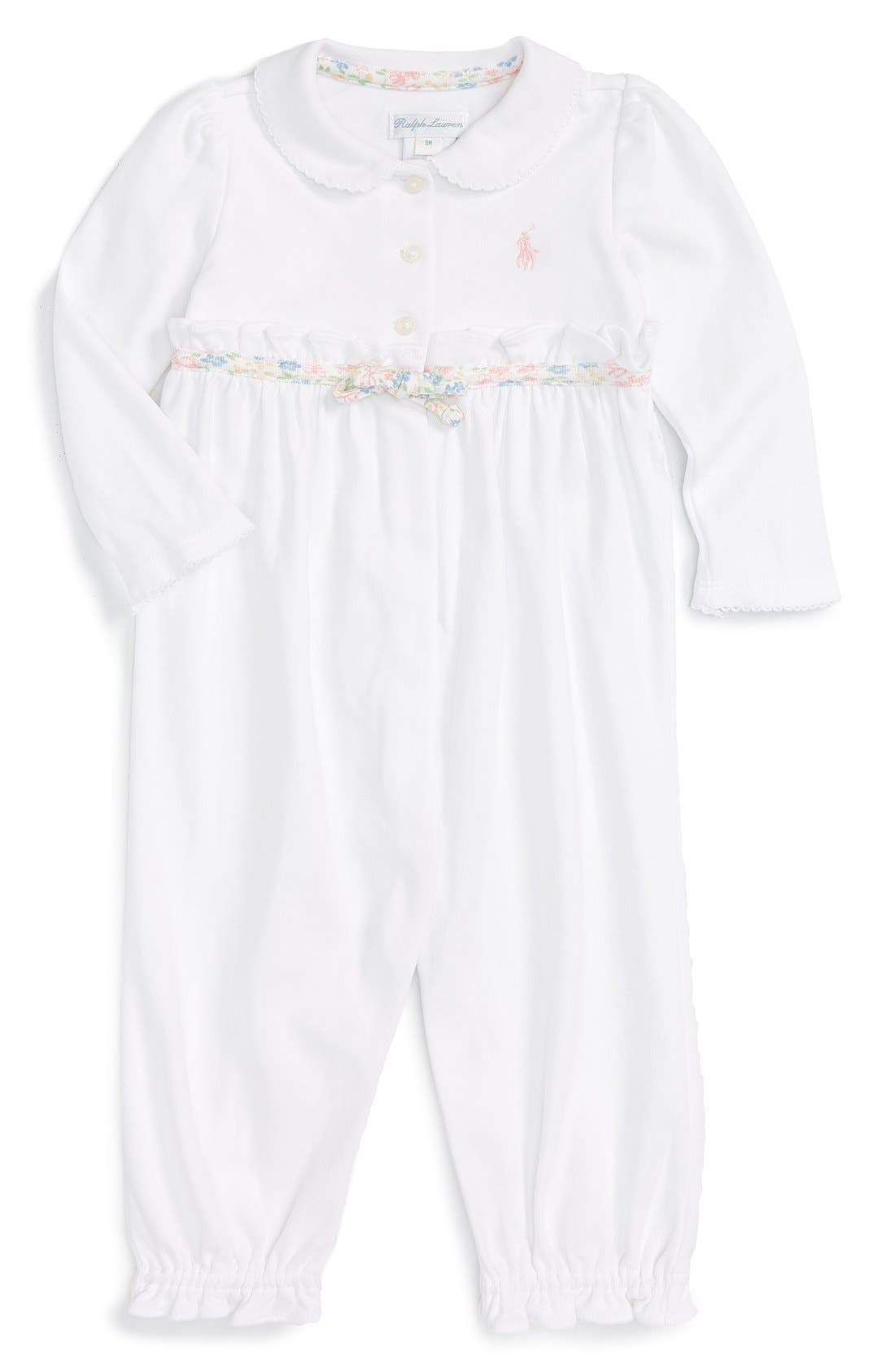 Ralph Lauren Ruffle Cotton Romper (Baby Girls)