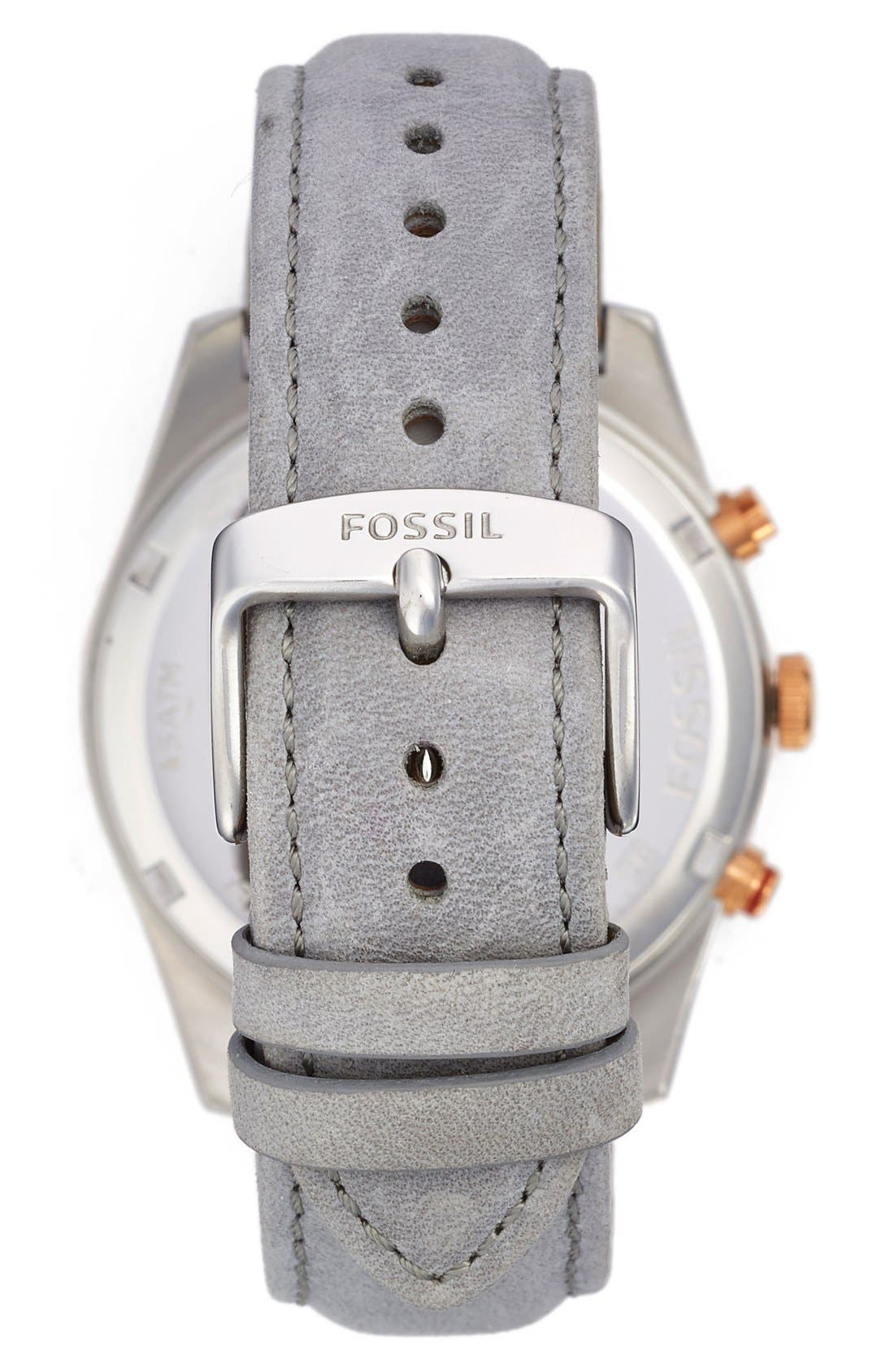 Alternate Image 2  - Fossil 'Perfect Boyfriend' Multifunction Leather Strap Watch, 39mm