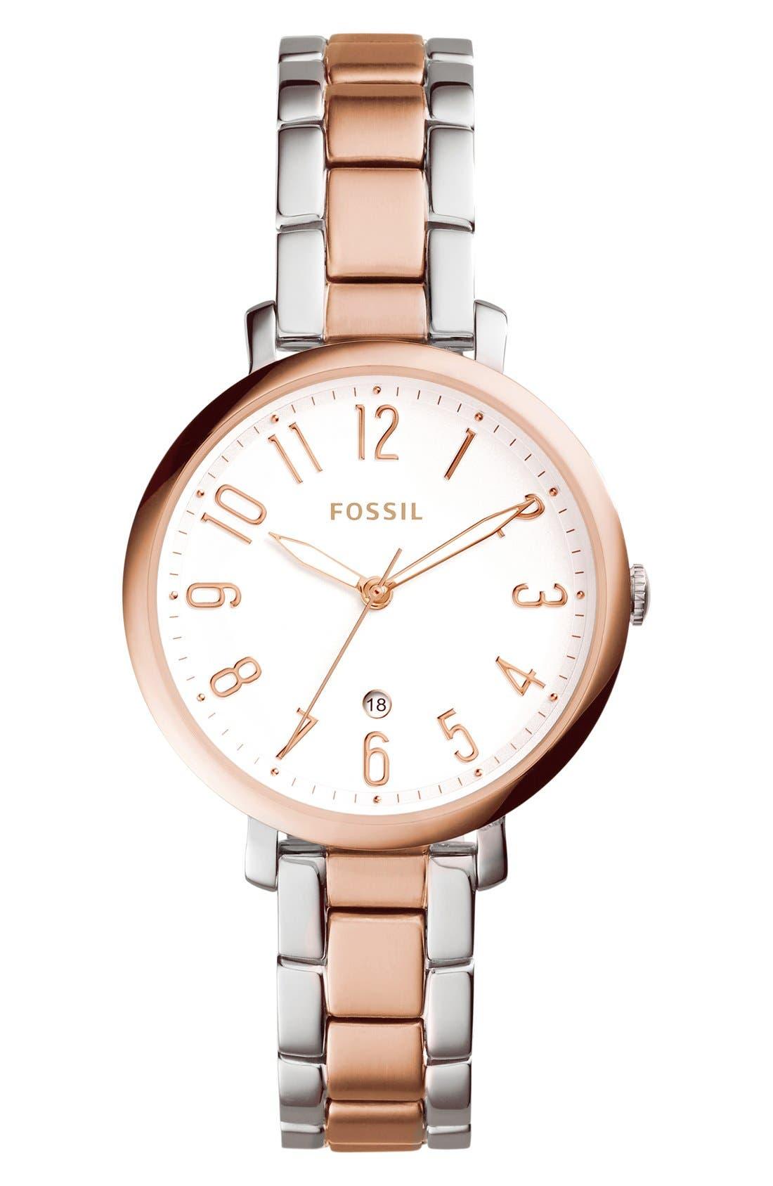 Alternate Image 1 Selected - Fossil 'Jacqueline' Bracelet Watch, 36mm