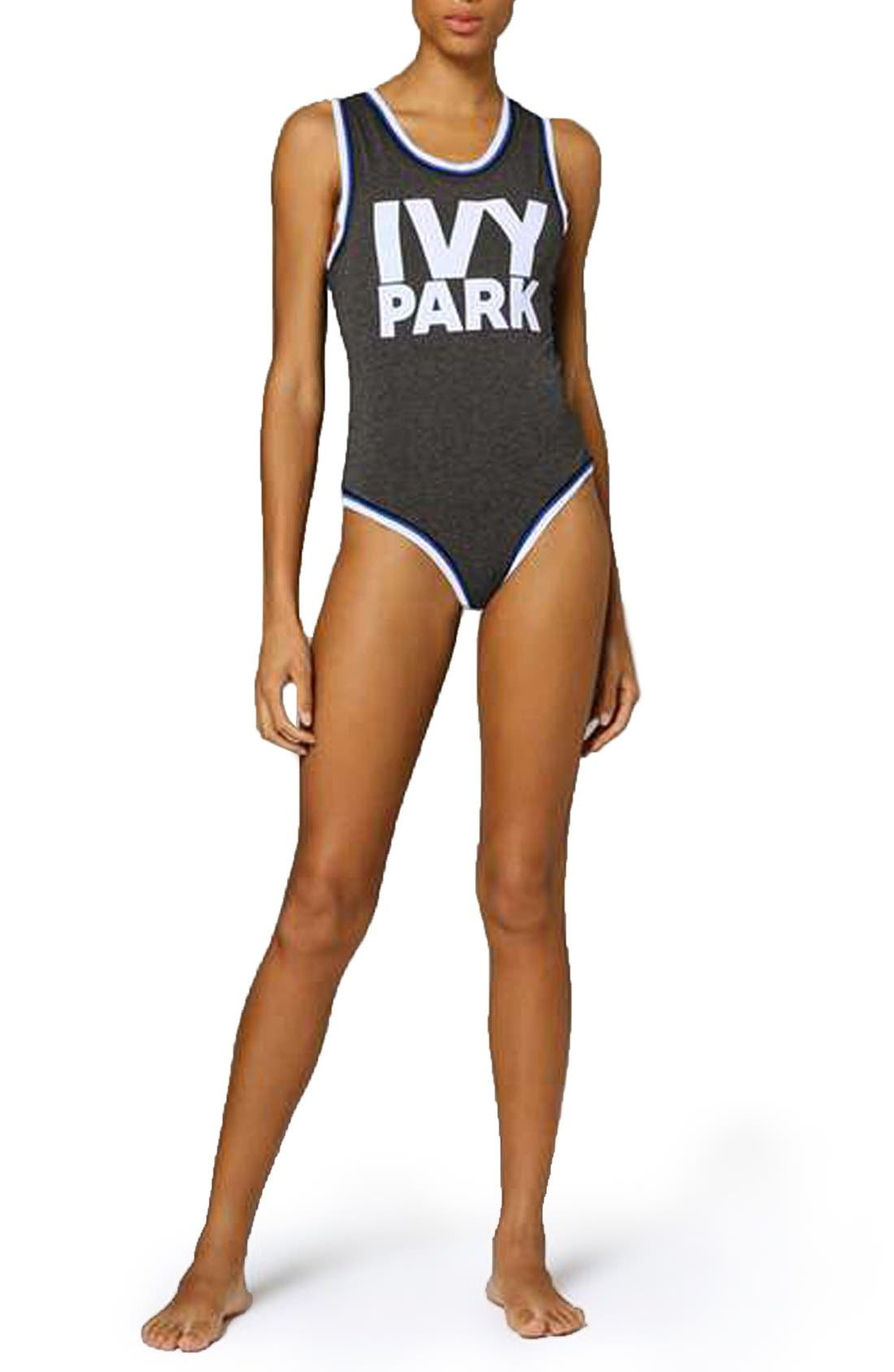 Alternate Image 2  - IVY PARK® Stripe Trim Logo Bodysuit