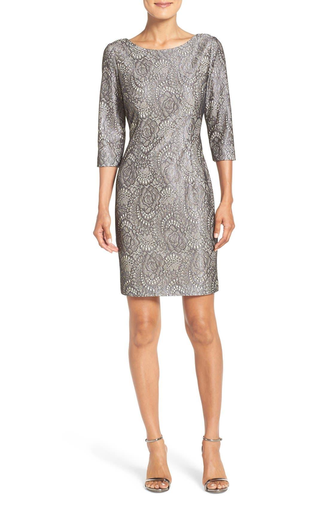 Main Image - Eliza J Bonded Lace Sheath Dress